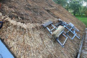Rietdekkersbedrijf Scholman aan het werk aan een opgeknapte rieten dak