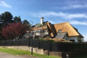 Impressie van het opdekken van een nieuw dak door Rietdekkersbedrijf Scholman